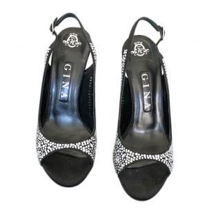 Gina Crystal Embellished Satin Slingback Sandals