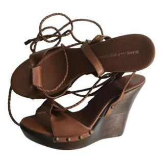 DVF Brown Leather Wedge Sandals