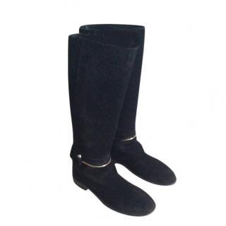 Balenciaga T-Bar Black Suede Flat Ankle Boots