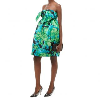 Richard Quinn Green Floral Satin Strapless Mini Dress