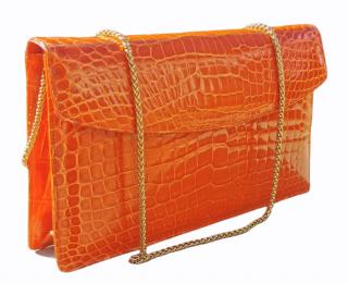 William & Son Orange Crocodile Chain Shoulder Bag