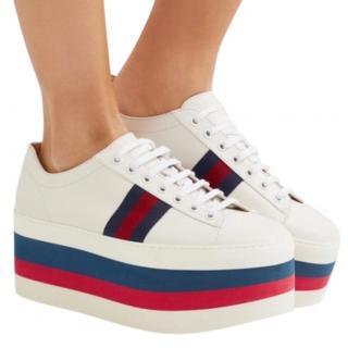 Gucci White Ace Web Platform Sneakers