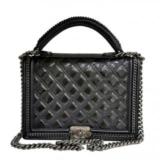 Chanel Black Glossy Goatskin Top Handle Boy Bag