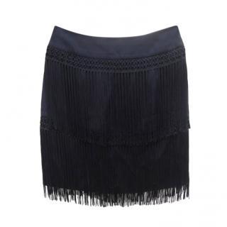 Temperley Black Fringed Mini Skirt