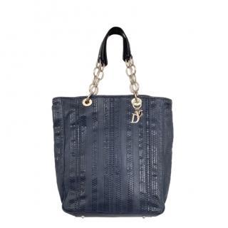 Dior by Galliano Blue Vintage Woven Shoulder Bag