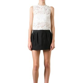 Saint Laurent white sleeveless lace top