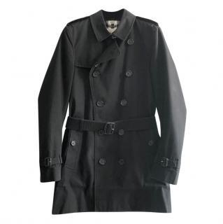 Burberry Black Vintage Check Lined Gabardine Short Trench Coat