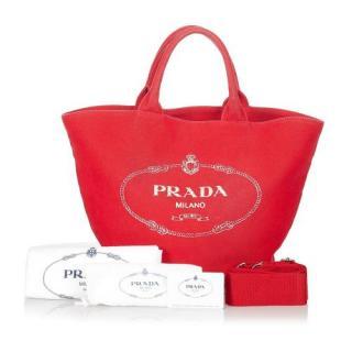 Prada Red Canapa Logo Canvas Tote Bag