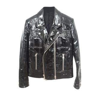 Balmain Men's Black lacquered leather Jacket