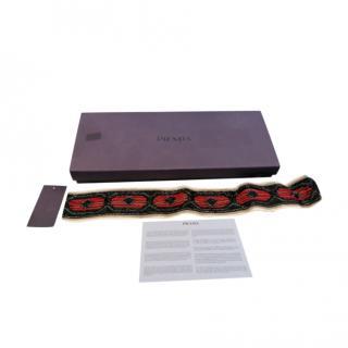 Prada Black Beaded Self Tie Belt