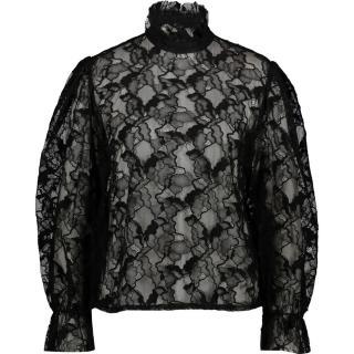 MSGM Black Floral Lace High Neck Blouse