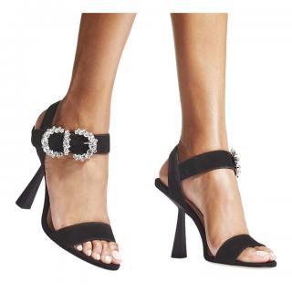 Jimmy Choo Black Suede Crystal Embellished Sereno Sandals
