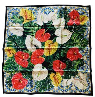 Dolce & Gabbana Tropical Majolica Print Silk Scarf