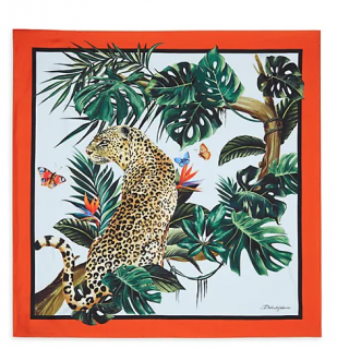 Dolce & Gabbana Leopard Jungle Print Silk Scarf
