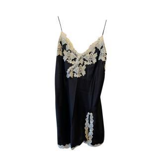 La Perla Black Lace Trim Silk Slip
