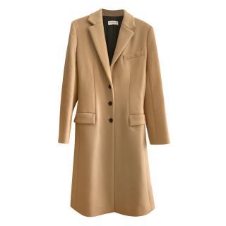Balenciaga Camel Wool Buckle Detail Tailored Coat