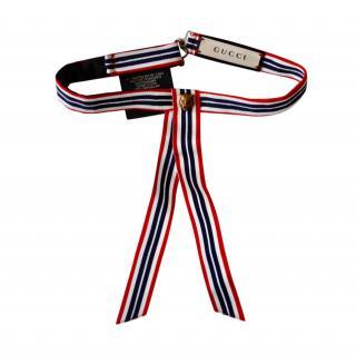 Gucci Striped Tiger Embellished Grosgrain Neck Tie