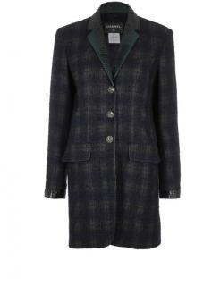 Chanel Paris/Edinburgh Python Trimmed Plaid Wool Blend Coat