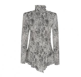 Alessandra Rich Silk Jacquard Leopard Skater Dress