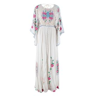 Baloo Floral Embroidered White Maxi Dress