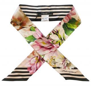 Dolce & Gabbana Striped Floral Print Silk Twilly