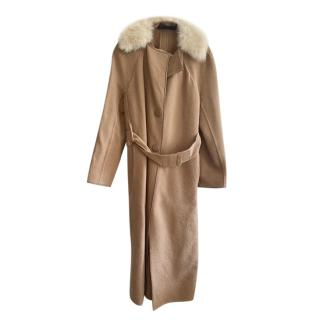 Calvin Klein Collection Shearling Trimmed Camel Coat