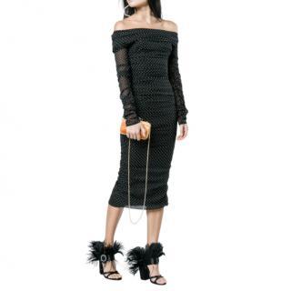 Dolce & Gabbana Black Polka Dot Ruched Silk Dress