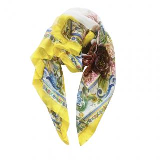 Dolce & Gabbana Printed Silk Pleated Scarf