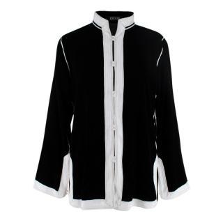 Didi Black Contrasting Trims Velvet Shirt