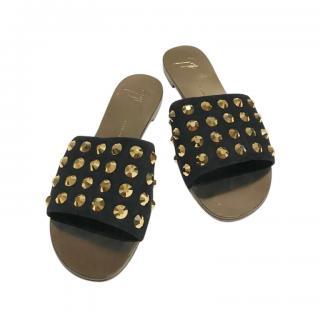 Giuseppe Zanotti Black Suede Studded Slides