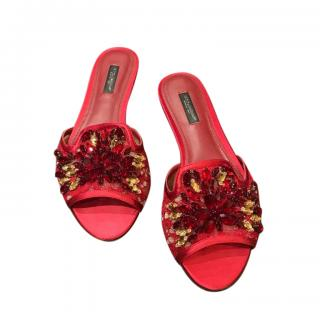DOLCE & GABBANA Taormina Lace Crystal Slides