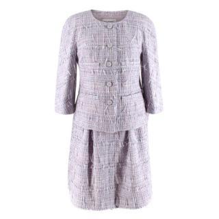 Chanel Lilac Ribbon Woven Tweed Jacket & Skirt