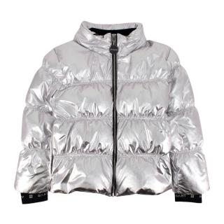 Givenchy Kids 12Y Metallic Silver Puffer Jacket