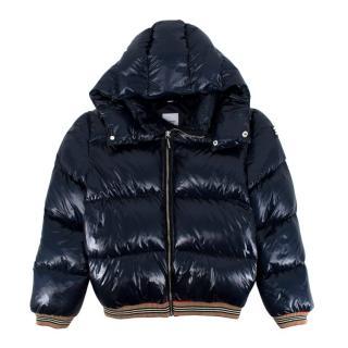 Burberry Kids 12Y Josiah Navy Down hooded Puffer Jacket