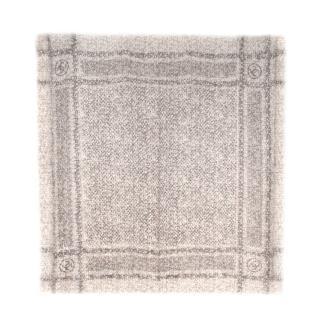 Chanel Greige Tweed Print Cashmere CC Shawl 140