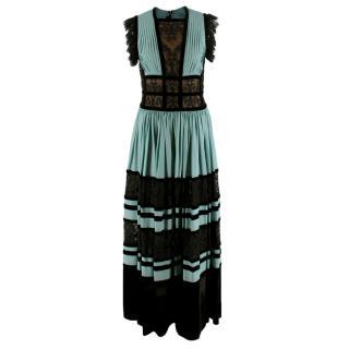 Elie Saab Turquoise & Black Velvet Lace Dress