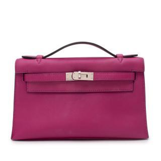 Hermes Rose Pourpre Swift Leather Kelly Pochette PHW