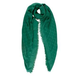 Louis Vuitton Green Silk & Wool Monogram Shawl