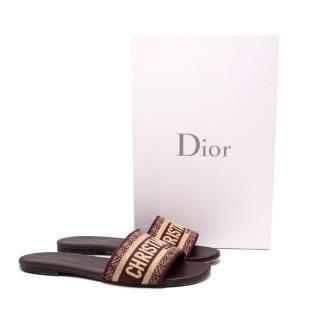 Dior Burgundy Cotton Embroidered Dway Slides