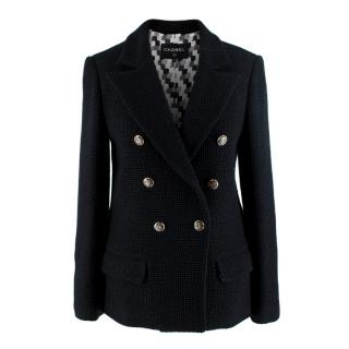 Chanel Black Boucle Tweed Double Breasted Tailored Jacket