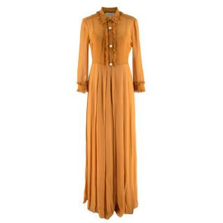 Gucci Ochre Silk Faux Pearl Button Down Sheer Shirt Dress