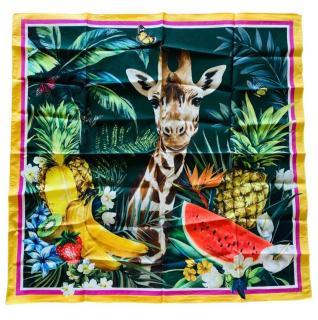 Dolce & Gabbana Tropical Giraffe Print Silk Scarf