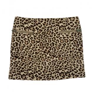 Joseph Animal Print Zip Detail Mini Skirt