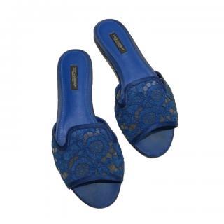Dolce & Gabbana Blue Lace Slides