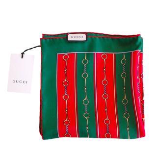 Gucci Green/Red Web Horsebit Print Silk Square Scarf/Neck Tie