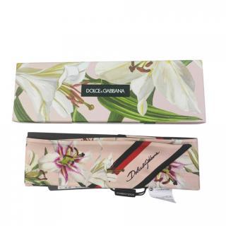 Dolce & Gabbana Blush Lily Print Silk Twilly