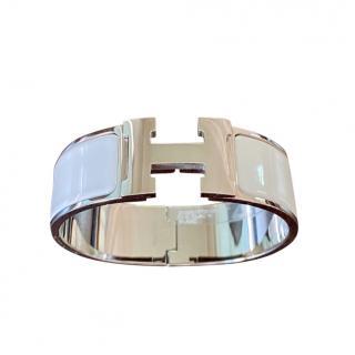 Hermes White Enamel Clic H Wide Bracelet - PHW