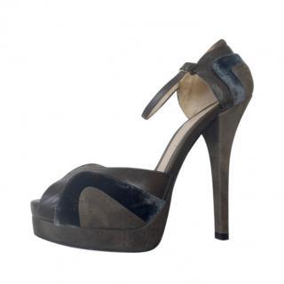 Fendi Leather, Suede & Velvet Taupe Sandals