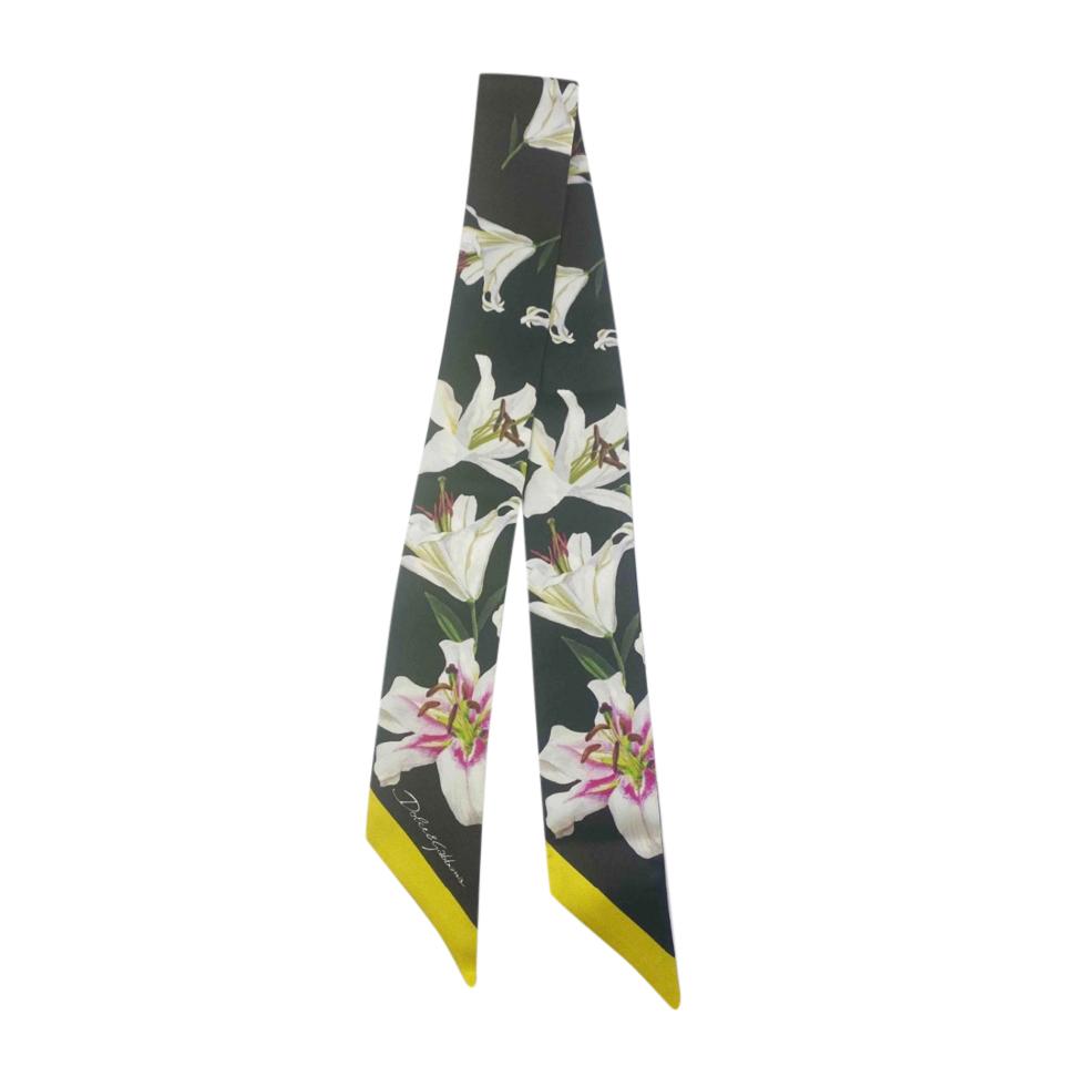 Dolce & Gabbana Black Lily Print Silk Twilly