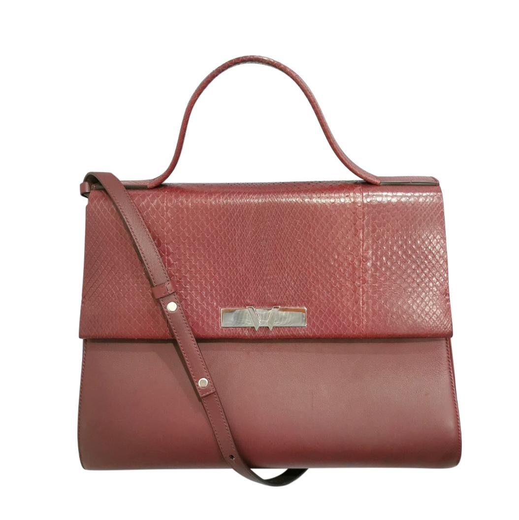 William & Son Burgundy Leather & Snakeskin Brunton Day Bag